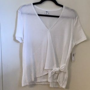 Old Navy White Textured Wrap-Front Side-Tie Top